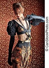 haute couture - Fashion shot of a beautiful model over...