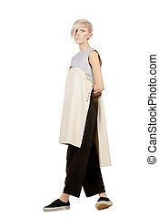 haute couture - Full length portrait of an extravagant model...