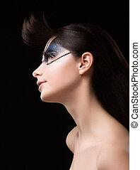 haute, couture., futurystyczny, brunetka, z, metaliczny,...