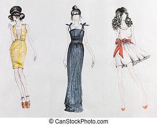 haute couture - hand drawn fashion sketch. women in colored...