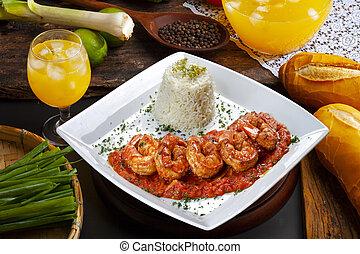 haute cuisine, big shrimp