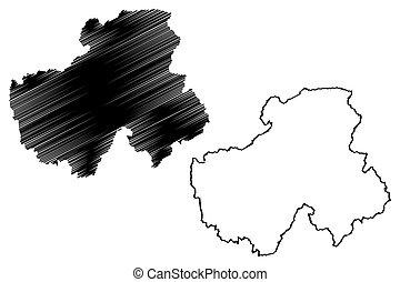 Haute-Savoie Department (France, French Republic, Auvergne-Rhone-Alpes region, ARA) map vector illustration, scribble sketch Upper Savoy map