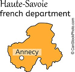 Haute-Savoie french department map on white in vector