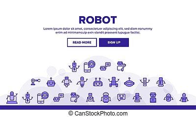 haute technologie, en-tête, vecteur, robot, atterrissage