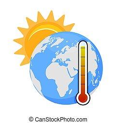 haute température, réchauffement planète, problème, planète