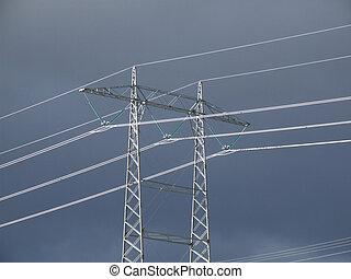 haute tension, lignes, pylône