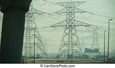 haute tension, pylône, électrique