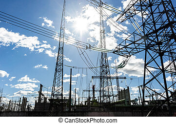 haute tension, tours électriques, contre, ciel