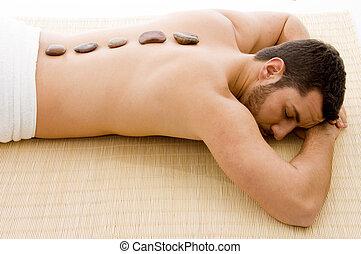 haute vue angle, de, homme couchant, sur, natte, à, spa