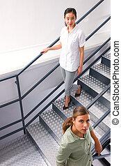 haute vue, angle, deux, femmes affaires