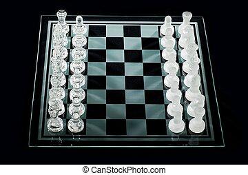 haute vue, angle, morceaux échecs
