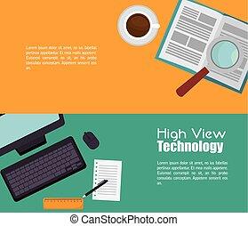 haute vue, technologie, icône