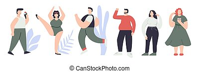 hauteur, femme, plat, habillement, type, homme, vecteur, ensemble, figure, illustration, différent, taille