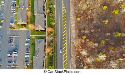 hauteur, route, maisons, arbres, jaune, vue