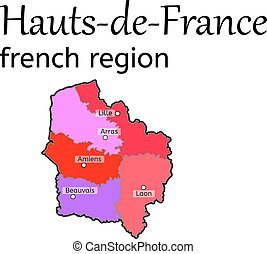 Hauts-de-France french region map on white in vector