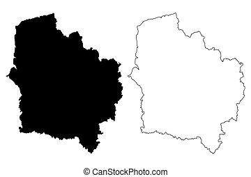 Hauts-de-France (France, administrative region) map vector illustration, scribble sketch Nord-Pas-de-Calais and Picardy map