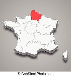 Hauts-de-France region location within France 3d isometric map