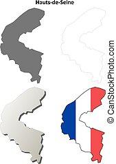 hauts-de-seine, περίγραμμα , θέτω , ile-de-france , χάρτηs