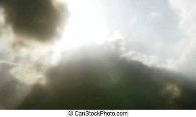 hauts nuages, couverture, ciel, soleil