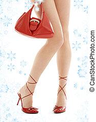 hauts talons, bourse, flocons neige, rouges