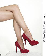 hauts talons, femme, rouges, jambes