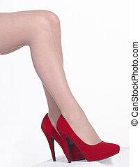hauts talons, jambes, rouges
