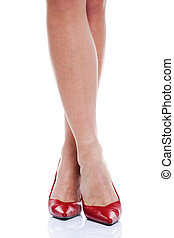 hauts talons, jambes, rouges, long