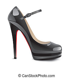 hauts talons, noir, chaussures