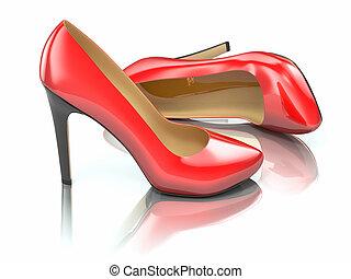 hauts talons, shoe., rouges, 3d
