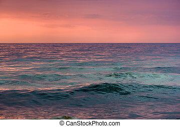 hav, bevattnar, hos, kväll