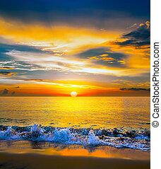 hav, farverig, solnedgang, hen