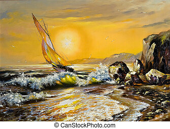 hav, landskab, hos, en, sejle båd