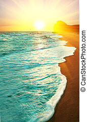 hav, på, solnedgång