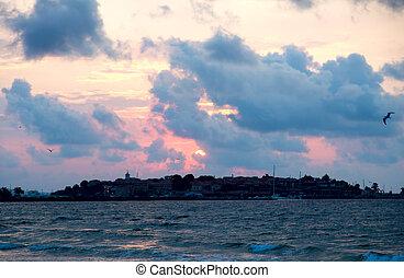 hav, ??sky, skyn, solnedgång