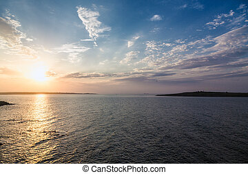 hav, sky, solnedgång