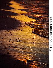 hav, tvagning, våt sand, stranden, under, guldgul solnedgång, lätt