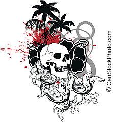 havaiano, cranio, ornament10