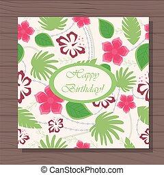 havaiano, madeira, padrão, aniversário, fundo, cartão, feliz
