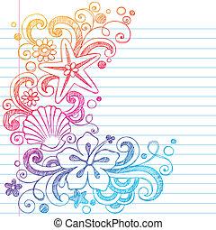 havaiano, praia, doodle, verão, vetorial