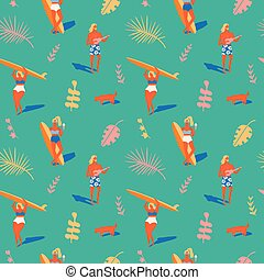 havajský, pláž, léto, pattern.