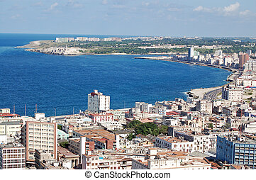 View from a tall building across the magnificent bay at Havana, Cuba on a sunny day.