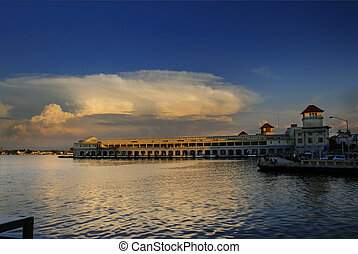 View of Havana bay with dramatic sunset