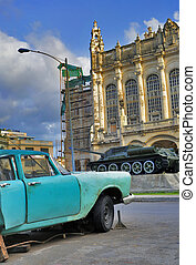 Havana car and revolution palace - Detail of vintage classic...