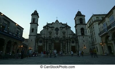 Havana cathedral at night, Cuba