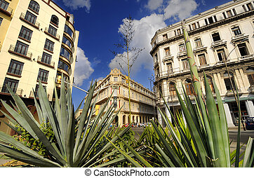 Havana cityscape with historical Hotel Plaza, cuba. January...