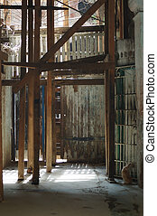 Detail of crumbling interior in old havana building