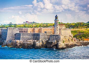 Havana, Cuba Fort - Havana, Cuba light house of La Cabana...