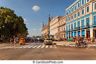 HAVANA, CUBA-MAY 14: Old American cars at Prado Boulevard ...
