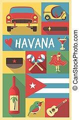 havana, kuba, postkarte, plakat, symbole, kulturell, retro, ...