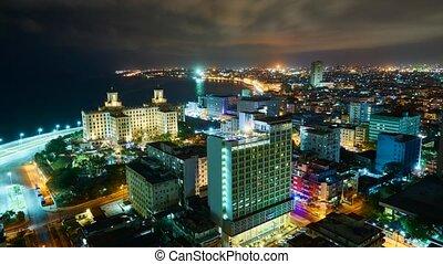 Havana night scene, time lapse